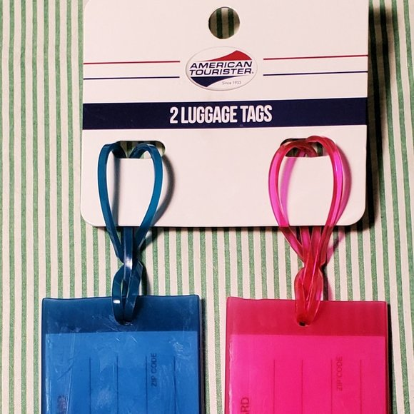 Two Luggage Tags, American Tourister Pink & Blue